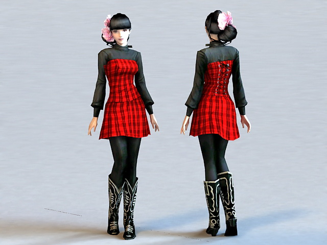 Chinese Fashion Girl 3d rendering
