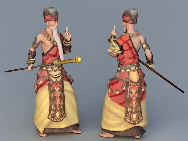 Anime Shaolin Monk 3d rendering