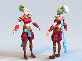 Anime Blonde Woman 3d model preview