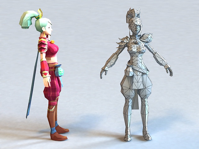 Pretty Anime Lady 3d model 3ds Max,Object files free