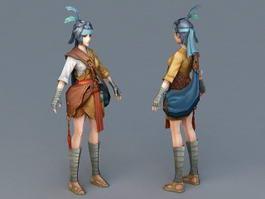 Asian Fantasy Girl 3d model preview