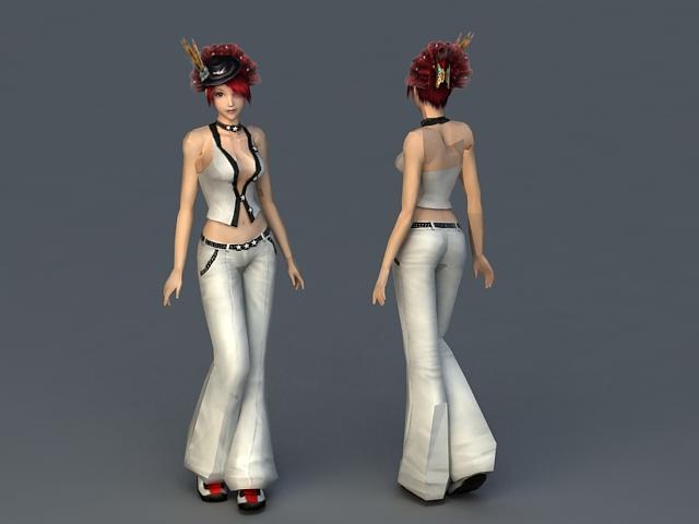 Red Hair Sweetheart 3d rendering