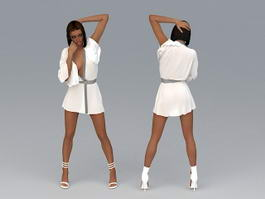 African American Woman 3d model preview
