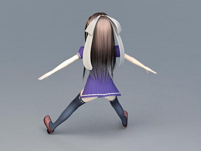 Kawaii Anime Girl 3d rendering