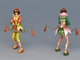 Girl Archer with Bow and Arrow 3d preview
