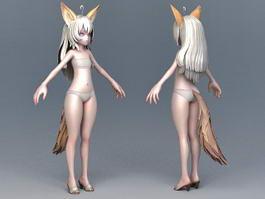 Anime Fox Girl 3d model preview