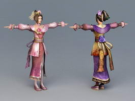 Ancient Chinese Dress Girl 3d preview