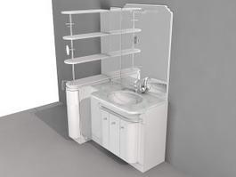Bathroom Vanity with Side Shelf 3d model preview