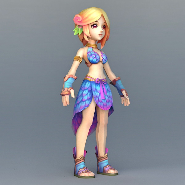 Cute Anime Girl 3d model 3ds Max files free download