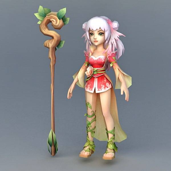 Chinese Witch 3d rendering