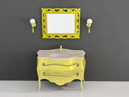 Modern Yellow Bathroom Vanity 3d model preview