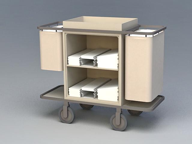 Hotel Housekeeping Cart 3d rendering