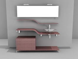Tiered Bathroom Vanity 3d preview