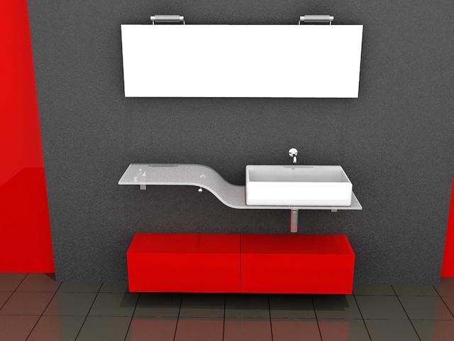 Red Bathroom Vanity Glass Top 3d rendering
