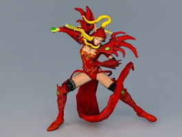 Medieval Art Female Assassin 3d model preview