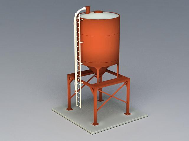 Frac Sand Storage Silo 3d rendering