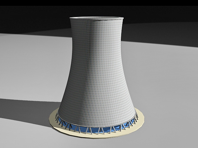 Power Station Cooling Tower 3d rendering