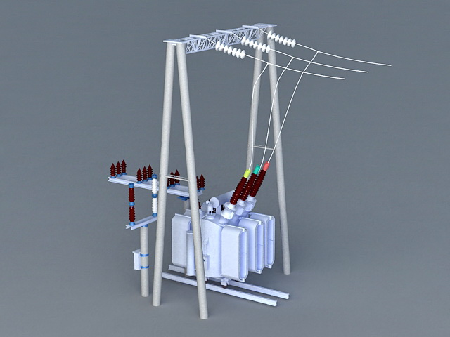Electrical Transformer 3d rendering