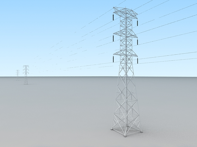 Transmission Power Lines Tower 3d rendering