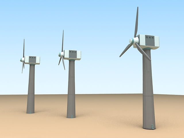 Large Wind Turbine 3d rendering
