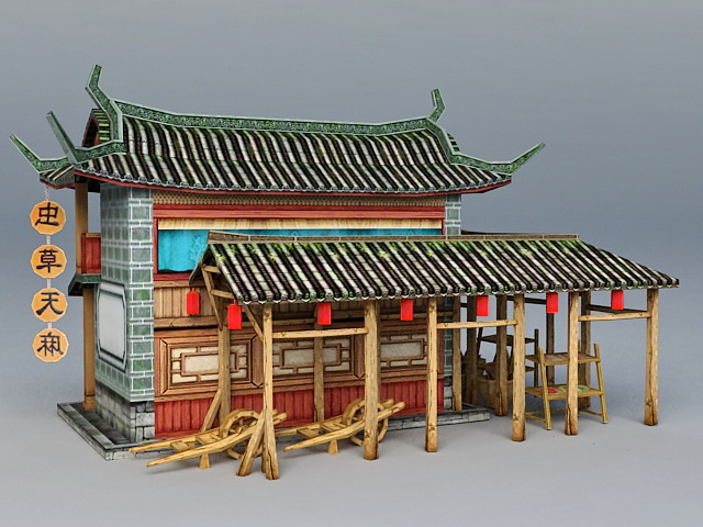 Ancient Chinese Herbal Medicine Shop 3d rendering