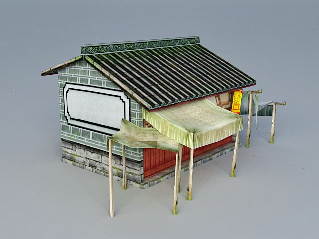 Ancient Chinese Cottage House 3d rendering