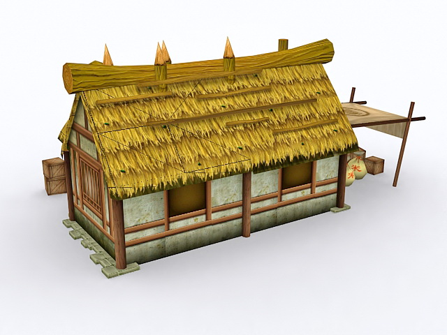 Historical Thatched Cottage 3d rendering