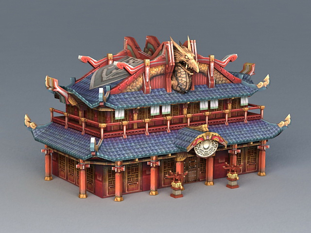 Ancient Chinese Architecture 3d rendering