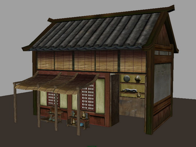 Traditional Ancient Chinese Store 3d rendering