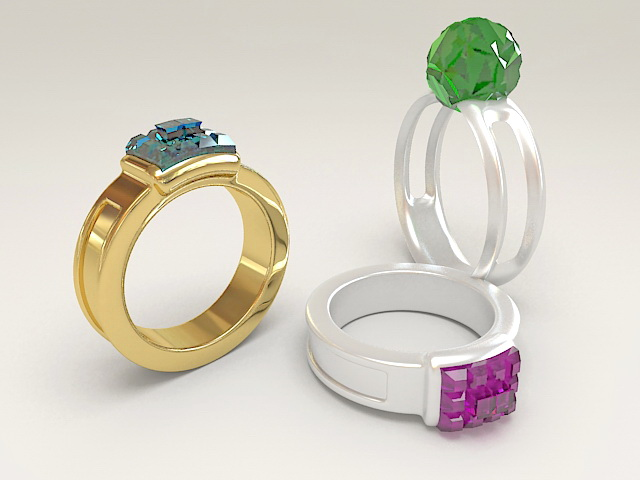 Gemstone Rings 3d rendering