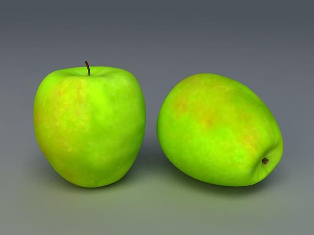 Granny Smith Apple 3d rendering