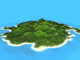Beautiful Tropical Island 3d model preview