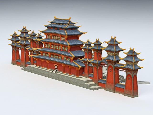 Anime Chinese Palace 3d rendering