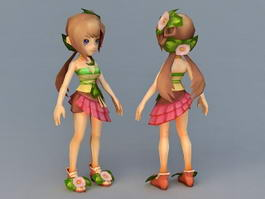 Cute Anime Girl with Brown Hair 3d model preview