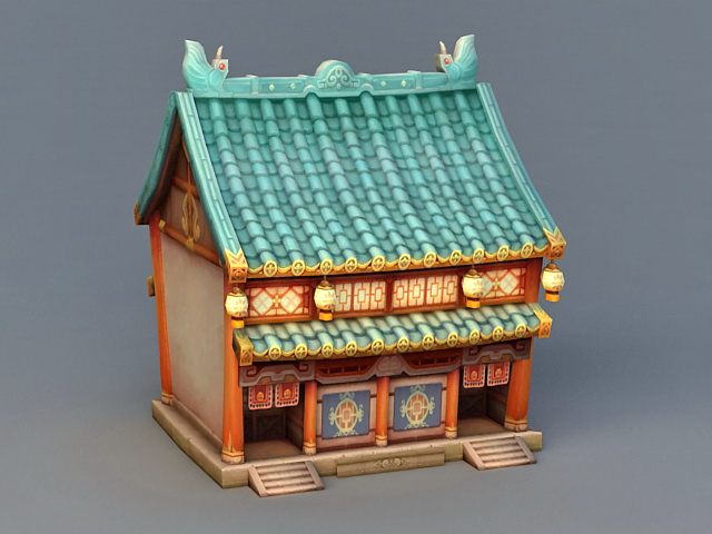 Anime Ancient Building 3d rendering