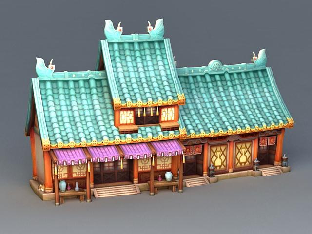 Ancient Anime buildings 3d rendering