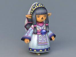 Elf Chibi Girl 3d preview