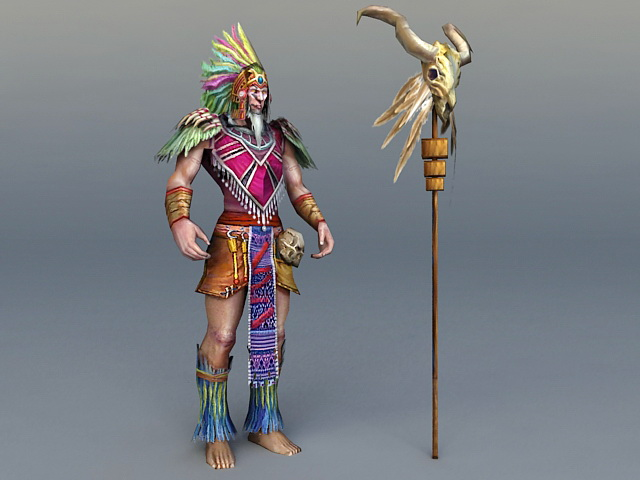 Ancient Indian Chief 3d rendering