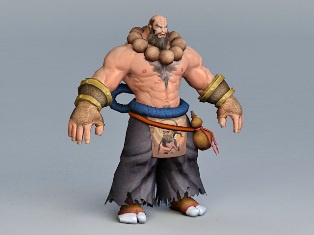 Martial Artist Monk Rigged and Animated 3d rendering