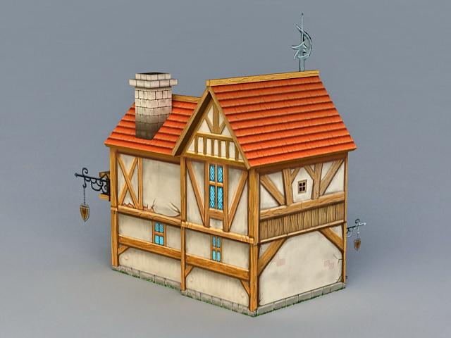 Medieval House 3d rendering