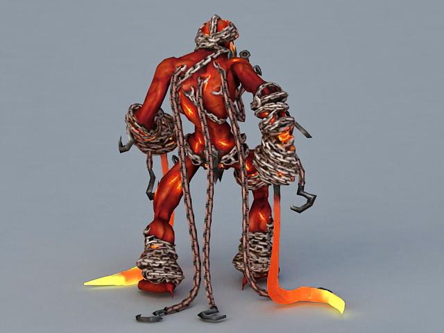 Lava Elemental Demon 3d rendering