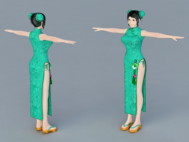Traditional Chinese Girls 3d rendering