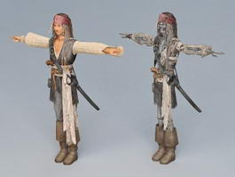 Captain Jack Sparrow Skeleton 3d preview