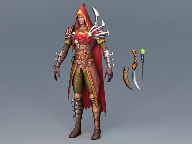 Hooded Rogue Shadow Assassin 3d rendering