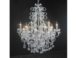 Antique White Crystal Chandelier 3d preview