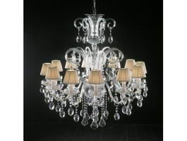 Antique Crystal Chandelier with Shades 3d preview