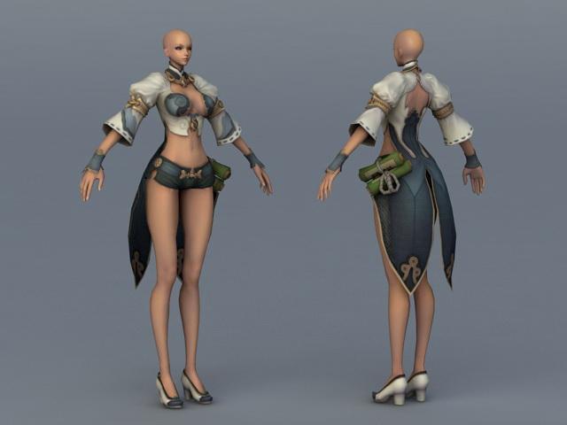 Female Character Concept Art 3d rendering