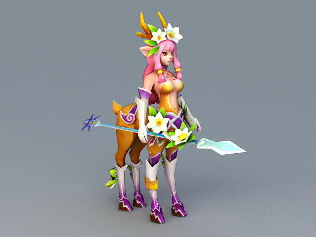 Anime Centaur Deer Girl 3d rendering