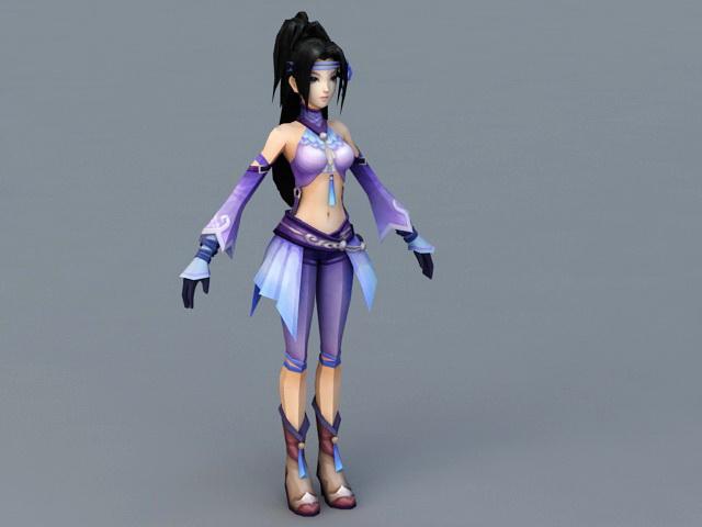 Cute Anime Girl Dancer 3d rendering