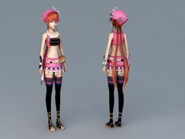 Traditional Chinese Girl Anime 3d model preview